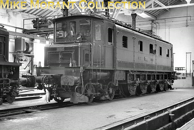 SBB  -  Swiss Federal Railways Class Ae 4/7 2'Do1' electric locomotive no. 10969 of 1927 vintage depicted inside the electric depot at Lausanne circa 1938.