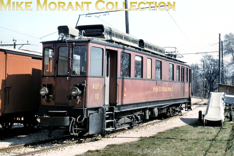 <b>NStCM  -  Chemin de fer Nyon–St-Cergue–Morez</b><br> TypeABFe4/4 electric railcar no. 10 photographed circa 1961. No. 10 was built in 1918 and served on the NStCM until 1992 when it was sold to the Chemin de fer de la Mure where it is currently out of service according to Wikipedia on 26-11-2015.<br> [<i>Mike Morant collection</i>]