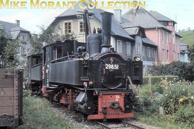 Austrian steam locomotive  -  760 mm narrow gauge Steyrtalbahn 0-6-2 tank engine no. 298.51 on shed at Garsten on 12/9/68.