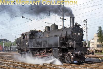 Austrian steam locomotive ÖBB 4-6-2 tank engine no. 77.26 at Graz on 20/6/67.
