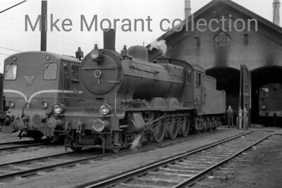 NS  - Nedelandsche Spoorwegen - Dutch Railways Beyer Peacock designed but built by Werkspoor Amsterdam in 1918, 'Jumbo' 4-6-0 no. 3774 is depicted here at depot Nijmegen in September 1956. Note the shape of things to come in the form of Bo-Bo diesel no. 2206. [Charles Gordon-Stewart / Mike Morant collection]