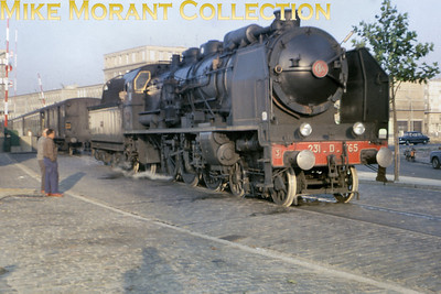 SNCF ex-Etat 4-cylinder compound pacific no. 231 D 765 in early morning light at Le Havre Quay on 1/9/62.