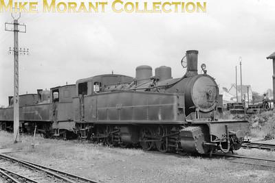 French narrow gauge railway  -  Réseau Breton RCTS visit on 6-7-57 Piquet-Lyon built Mallet 0-6-0+0-6-0T no. E413 outside the workshops at Carhaix.