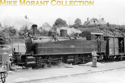French narrow gauge railway  -  Réseau Breton RCTS visit on 6-7-57 Piquet-Lyon built Mallet 0-6-0+0-6-0T no. E414 during the tour train's stop at St. Lubin.