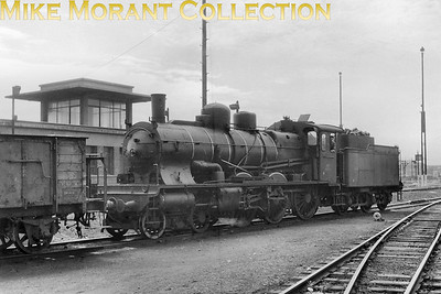This handsome engine is SNCF 4-6-0 no. 230 B 825 photographed at dépôt Valenciennes in May 1952. These 390 four-cylinder compound, mixed traffic engines with 1,75 m wheels were the most numerous class of ten wheelers in France and were numbered Est 3501-3890 becoming 230 B 501 thru' 890 under SNCF ownership. They were built from 1901 to 1912 by several French and German manufacturers. The last 100 engines were originally built with superheater whilst the others were superheated at a later time. Withdrawals started slowly in 1951. 274 engines were still in the books in 1957 and the last ones lasted until 1967 [Mike Morant collection]