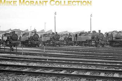 "A nice array of SNCF tank engines on shed dominated by the 141TB class of 2-8-2T but which dépôt is this? This, resulting from astute deductions by a French viewer is an answer: ""En effet, on n'a pas de certitude, mais je crois que tu tiens la solution : Vaires (ou région parisienne) en 46 ou 47. Vaires-sur-Marne étant près de Paris, la présence de machines de la Villette ou de Noisy en attente pour ramener un train de banlieue est plausible. Par contre, la machine d'Epinal ou de Nancy n'a pas l'autonomie nécessaire pour venir à Paris (et les autres ne sont pas capables non plus de partir si loin dans l'Est)."" I have a slightly different opinion although I have no doubt that the location, Vaires, is correct. I think that this image depicts an accumulation of withdrawn locomotives and was taken shortly after the 141 TB's were displaced from the Bastille services by electrification which suggests that this is 1966 rather than 1946. It does mean that one of the depicted 141 TB's doesn't actually belong to the Vaires depot but that was commonplace during the mass withdrawals in the UK during the 1960's when entire classes would be congregated in one depot  - regardless of their originating depots -   before being moved to the scrap merchant. [Mike Morant collection]"