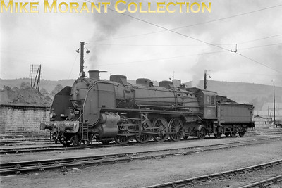 This SNCF 141B class of  2-8-2 originated with the P.O. Numbered by the P.O. as the series 5811 - 5960, all 150 examples were built by Alco during the period 1917 thru' 1919. They were subsequently numbered as 141 B 811 thru' 960 by the SNCF and all were allocated to the Sud Ouest region. It says a lot about their design that all bar one were still registered as active in 1957. The number of this example is, unfortunately, not legible although the location has been identified by members of the Ferrovissime forum as the dépôt at Saint-Sulpice-Laurière. [Mike Morant collection]