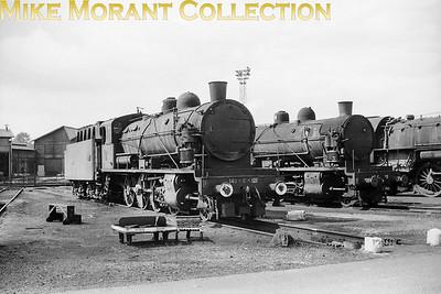 SNCF 2-8-0's nos. 140 C 121 and 113 at dépôt de Belfort. [Mike Morant collection]