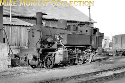 "SNCF 2-6-0T no. 130 TB 869 of the Sud-Ouest region (ex P.O.) is an ex Prussian T 9.3 built before WW1. This ""Armistice""-engine is shown here at depot Vierzon in 1951 or 1952. [Mke Morant collection]"