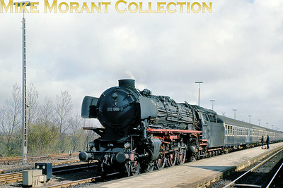 German steam locomotive Deutsche Bundesbahn oil fired pacific no. 012 066-7. There was no backgound information with this excellent medium format transparency.