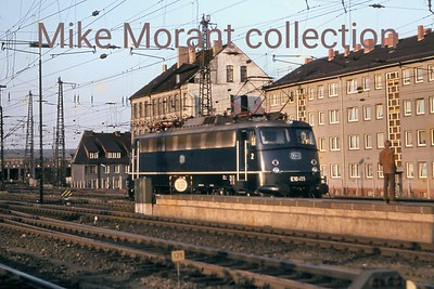 German railways  -  DB -  Deutsche Bundesbahn Bo-Bo electric locomotive no. E10 445 in cobalt blue livery at an undisclosed location in 1964. [Mike Morant collection]