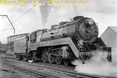 AUSTRALIAN STEAMNew South Wales Government Railways  NSWGR 38-class 4-6-2 No. 3813 seen under the wires in the Sydney suburbs c.1971.. [A. E. 'Dusty' Durrant / Mike Morant collection]