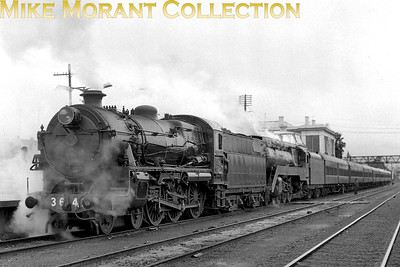 AUSTRALIAN STEAMNew South Wales Government Railways  A double-headed special behind NSWGR 36 class 4-6-0 No. 3642 and streamlined class 38 4-6-2 No. 3801 - c.1971.. [A. E. 'Dusty' Durrant / Mike Morant collection]