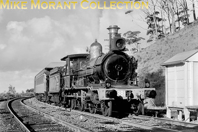 """AUSTRALIAN STEAMNew South Wales Government Railways  Preserved vintage 4-4-0 No. 381 heads a special tour - c.1971. The NSWGR class 17 locomotives had been supplied by Vulcan Foundry in 1887 and initially classified """"H"""". Before being selected for preservation, this loco had been numbered NSW 1709.. [A. E. 'Dusty' Durrant / Mike Morant collection]"""
