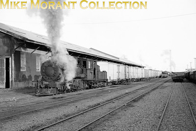 NZR (New Zealand Railways) class Bb no. 4-8-0 no. 630 graces Invercargill goods yard with its presence whilst operating the Number 1 shunting service on 9th July 1965. [Photographed by John Brouwer Mike Morant collection]