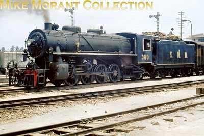 SRT  -  State Railway of Thailand steam locomotives. Thai 2-8-2 no. 380 at Surat Thani in May 1971. [Mike Morant collection]