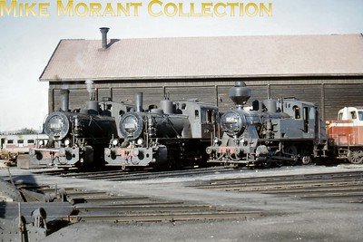Valtionrautatiet  - Finnish State Railways -  VR 0-6-2T's:  from right to left, Vr2 no. 954 and Vr5 nos. 1416/1413 photographed in 1966. [Mike Morant collection]