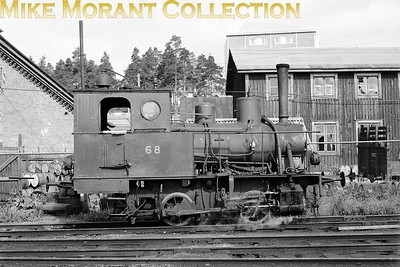 Valtionrautatiet  - Finnish State Railways -  VR Vk4 class 0-4-0T no. 68 photographed at Kuopio on 24/8/61. This loco was a one-off for VR and was built by Borsig in 1910. According to Wikipedia (so, be careful) no. 68 is known as Leena, was withdrawn in 1962 and survivers in the custodianship of the Finnish Railway Museum and is the oldest working broad gauge steam engine in Finland. [Mike Morant collection]