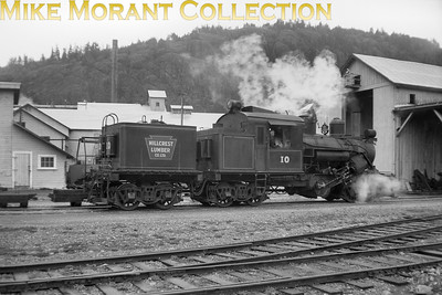 3-truck Climax Loco No. 10 was built in March 1928 with serial no. 1693 and is depicted here at Mesachie Lake on March 30th 1959 whilst still in service with the Hillcrest Lumber Co. BC. [Mke Morant collection]