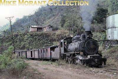 G&QR  - Guayaquil & Quito Railway  - steam in Ecuador Baldwin built 2-8-0 no. 44 at Naranapata on 16/9/90. [Mike Morant collection]