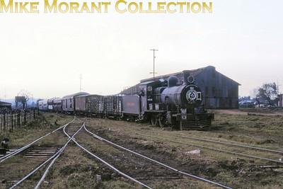 FCPCAL  - Ferrocaril Presidente Carlos Antonio Lopez Paraguayan steam locomotive 2-8-0 no. 53  - NBL ?????/191? at Encarnación on 18/7/84. [ Mike Morant collection]