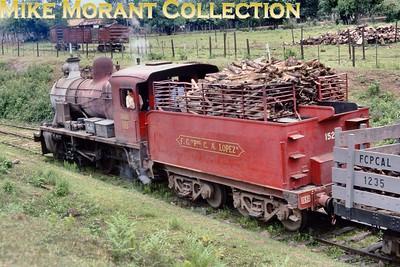 FCPCAL  - Ferrocaril Presidente Carlos Antonio Lopez Paraguayan steam locomotive 2-6-0 no. 152 -   Yorkshire Engine Co. (Sheffield) 2514/1953 in December 1981. [Mike Morant collection]