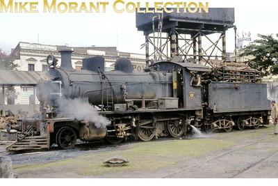 FCPCAL  - Ferrocaril Presidente Carlos Antonio Lopez Paraguayan steam locomotive 2-6-0 no. 83 at Asunción in August 1982. [Mike Morant collection]
