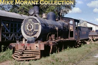 FCPCAL  - Ferrocaril Presidente Carlos Antonio Lopez Paraguayan steam locomotive 2-6-0 no. 101- NBL 19144/1911 - at Asunción in 1981. [Mike Morant collection]
