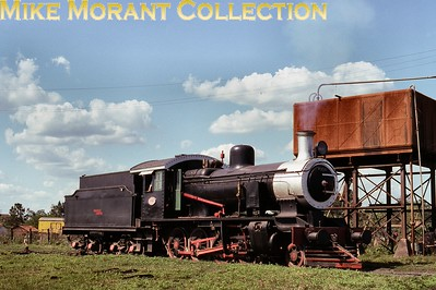 FCPCAL  - Ferrocaril Presidente Carlos Antonio Lopez Paraguayan steam locomotive 2-8-0 no. 334  - NBL 20397/1914 -  ex Urquiza class Q in steam at Encarnación on 3rd October 1990. [Martin Robinson / Mike Morant collection]