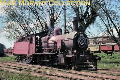 FCPCAL  - Ferrocaril Presidente Carlos Antonio Lopez Paraguayan steam locomotive 2-6-0 no. 102 -   NBL 19145/1911  -  in steam at Encarnación on 3rd October 1990. [Martin Robinson / Mike Morant collection]