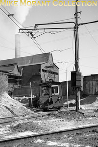 Inspiration Copper Company electric tramway at Miami AZ in 1959.  So far as I can determine this site has been derelict for decades though it can still be visited as part of an historical tour. [Photographer: R. E. Field/Mike Morant collection]