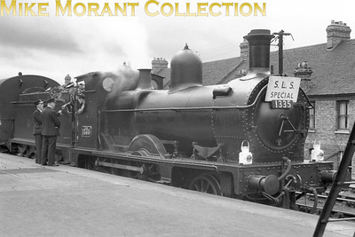 SLS: Shipston Branch Tour 31/8/52 Former MSWJR 2-4-0 no. 1335 at at Oxford where this tour both started and ended. 1335 dated from 1894 and this would be its last outing as she had already been held in store at Swindon since March and withdrawal, officially from her home shed of Reading, would follow in the September.