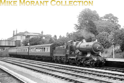 The preserved GWR 'City' class 4-4-0 no. 3440 City of Truro is depicted here on a Didcot, Newbury and Southampton service in August 1957. Withdrawn in 1931, City of Truro was exhibited at the York railway museum until january 1957 when she was restored to her former glory as an operational engine. She was allocated to Didcot mpd from July 1957 untilo October 1958 and was a regular on these DN&S trains during that period. [Mike Morant collection]