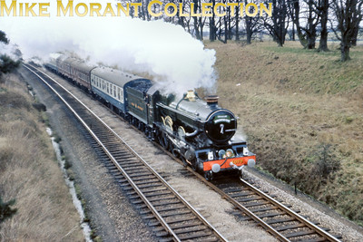Ian Allan: The Birkenhead Flyer 4/3/67 Restored Collett Castle class 4-6-0 4079 Pendennis Castle somewhere nearer to Banbury than to Oxford in a shot that, unfortunately, suffers slightly from motion blur which is unusual in my own photography.
