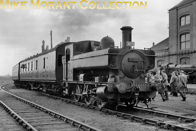 RCTS: Swindon & Highworth Railtour 25/4/54 Collett outside cylinder 0-6-0PT no. 1366 at Swindon. [Mike Morant collection]