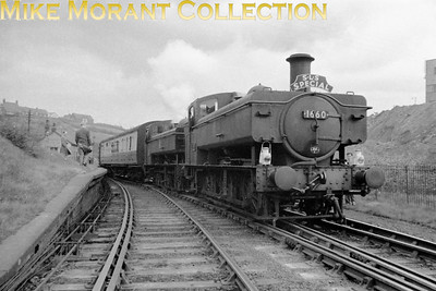 SLS: Wrexham & District Rail Tour 18/4/59 BR Hawksworth 1600 class 0-6-0PT's nos. 1660 & 1635 are depicted here at Brymbo's GWR station which had closed to passenger traffic on 27/3/50 and would close for goods traffic in 1964. Both these engines had short working lives: 1635 was new to traffic in 1951 and would be withdrawn from Croes Newydd mpd in October 1959 whilst 1660 was an even newer arrival entering service in February 1955 and being withdrawn from the same shed exactly a decade thereafter.   I have doubts as to just how original this negative is. If anyone believes he owns the original then please contact me via the image comment button and not via the gallery comment facility.