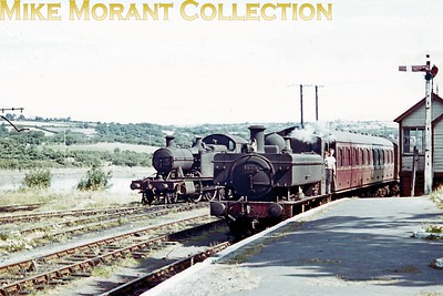 Cardigan station in 1961 or 1962 plays host to Hawksworth 1600 class pannier tank no. 1666 and Churchward 4500 class prairie tank no. 5520. Both were 87H Neyland engines when this shot was taken and 5520 was withdrawn there in September 1962 whilst 1666 would move to 89D Oswestry in December 1962 followed by a further at Neyland and withdrawal at 85B Gloucester Horton Road in February 1964. [Mike Morant collection]