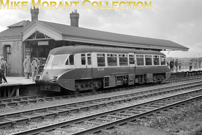 London Railway Society: Diesel excursion 26/9/54 GWR Collett Flying Banana railcar no. W13 was used throughout and is depicted here at Denham station. [Mike Morant collection]