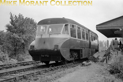 London Railway Society: Diesel excursion 26/9/54 GWR Collett Flying Banana railcar no. W13 was used throughout and is depicted here at the GWR's Uxbridge High Street station which had closed to passenger traffic way back in 1939. [Mike Morant collection]