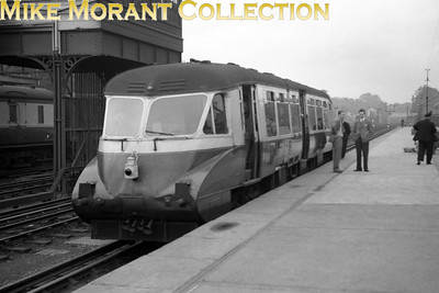 London Railway Society: Diesel excursion 26/9/54 GWR Collett Flying Banana railcar no. W13 was used throughout and is depicted here at Kensington Olymia at the start of the tour. [Mike Morant collection]