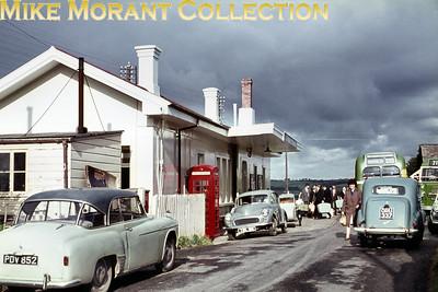 Liskeard railway station frontage and forecourt circa 1964.