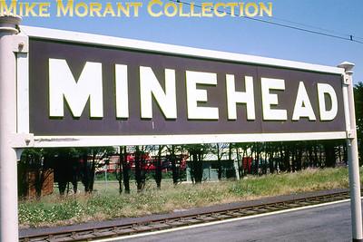 Minehead station running-in board.