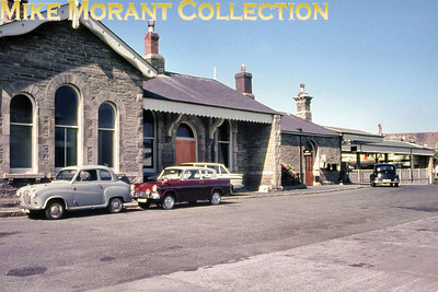 Newquay station frontage and forecourt circa 1964.
