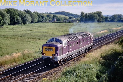Preserved Deltic no. 9016 Gordon Highlander, adorned with Porterbrooks' purple livery, speeds eastwards at the unlikely location of Sherborne on 6/7/2003. This was the light engine return from Yeovil Junction after a Cathedrals Express railtour duty which isn't mentioned on the sixbellsjunction web site. [Slide taken by Mike Morant]