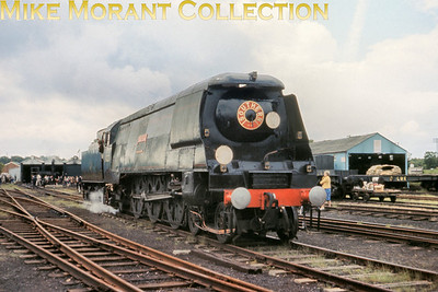 The preserved Bulleid original West Country 34023 Blackmore Vale is depicted at its temporary home of Longmoor on June 8th 1968. Note the Southern roundel on the smokebox door.