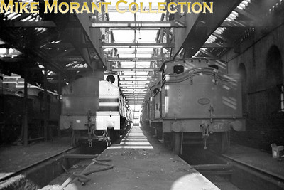 Vintage Irish Railways - Northern Ireland - UTAEx-BCDR locos inside Belfast's Queen's Quay shed on 25/4/54. On the left is 4-6-4T no. 222 and on the right is 4-4-2T no. 217.