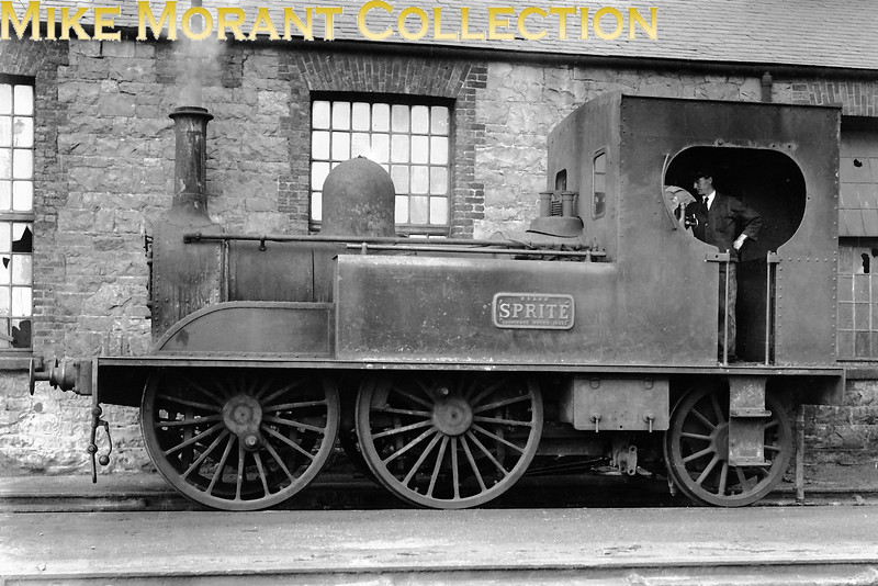 GSWR 0-4-2T <i>Spite</i> had no number and was built at Inchicore in 1873 and she was withdrawn in 1927. his shot seems to depict the end of her days and we see here the odd combination of being in steam but with coupling rod removed.<br> [<i>Mike Morant collection</i>]