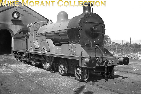 <b>Vintage Irish railways - GNR(I) - Great Northern Railway (Ireland)</b><br> Ex-works 'S2' class 4-4-0 no. 190 <i>Lugnaquilla</i> outside Dundalk running shed.<br> <i>[Mike Morant collection]</i>