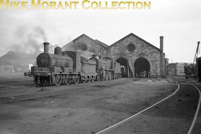 Vintage Irish Republic Railways - Steam in EireEx-M&GWR J18  0-6-0 no. 585 and ex- GSR K1 2-6-0 no. 601 at Broadstone shed on 1/9/53.