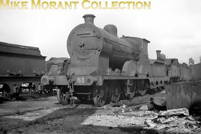 Vintage Irish Republic Railways - Steam in EireEx-M&GWR D7 4-4-0 no. 537 at Inchicore shed on 1/9/53.